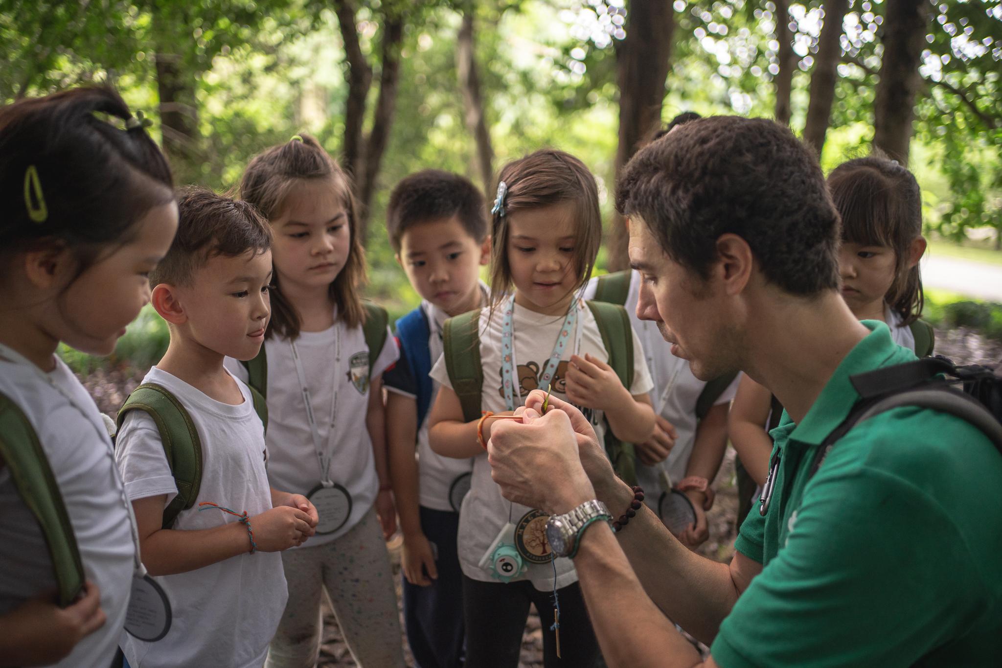 school class in nature park